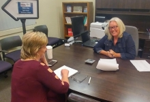 Leanne Hartline, co-owner of Hartline's West Mex of Redding, consulting with Norcal SBDC Restaurant Program Manager, Louise Dawson